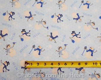 Welcome Winter White Snowmen Birds on Blue BY YARDS Wilmington Cotton Fabric