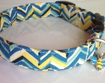 Blue & Yellow Chevron  Male Dog and Cat Collar