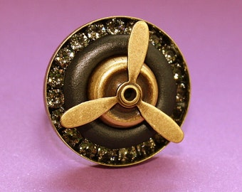 Propeller Ring - Adjustable Ring - Epoxy Clay - Steampunk