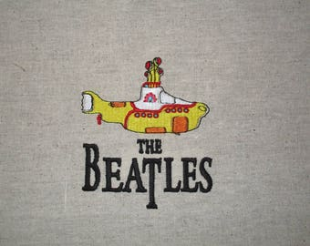 Beatles Embroidered Fabric Block