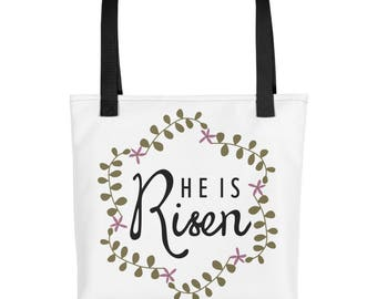 He Is Risen Tote Bag Easter Tote Easter Bag Easter Totebag Easter Tote Bag Easter Book Bag Spring Tote Spring Bag