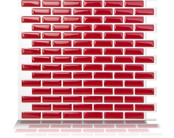 Tic Tac Tiles®-High Quality Mosaic Peel and Stick Wall Tile in Brick Red (10 Sheets)
