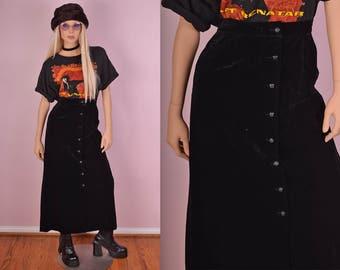70s Black Velvet Button Down Skirt/ 27 Waist/ 1970s