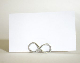Infinity Place Card Holders Set of 10 -  Name Card Stands for Weddings, Anniversaries - Suspended Moments