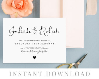 Rustic Wedding Invite INSTANT DOWNLOAD Template, Printable, Rustic Wedding Invite Cards, diy Wedding, Editable, Simple White, HART