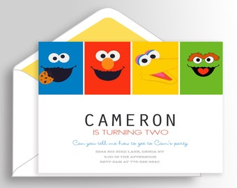 Modern Sesame Street / Sesame Street Invitation / Sesame Street Birthday Invitation / Sesame Street Party / Sesame