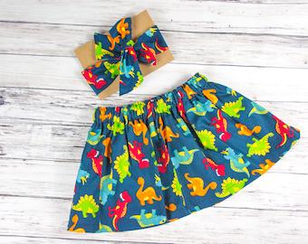 Dinosaur Skirt and Head wrap Set- navy dinosaur head wrap, baby skirt, little girl skirt, baby smashcake outfit