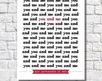 You And Me Print Valentines Day Gift For Her Personalized Wedding Date Art 1st Anniversary Gift Couples Home Decor Unique Wedding Present
