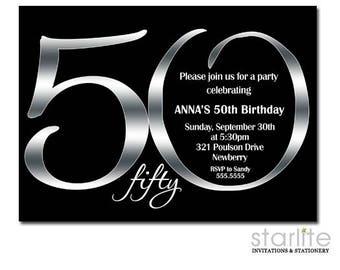 Black and Silver 50th Birthday Invitation, Black Silver Birthday Invitation, Silver Black Printable Birthday Invite, ANY AGE ending in ZERO