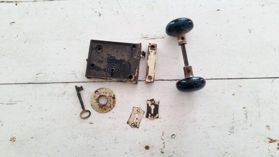 antique black porcelain door knob set ~ skeleton key ~ rim lock ...