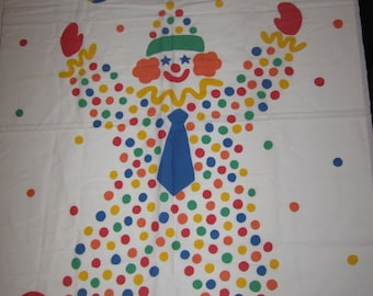 clown around gear kids rainbow colorful polka dots fabric panel quilt topper