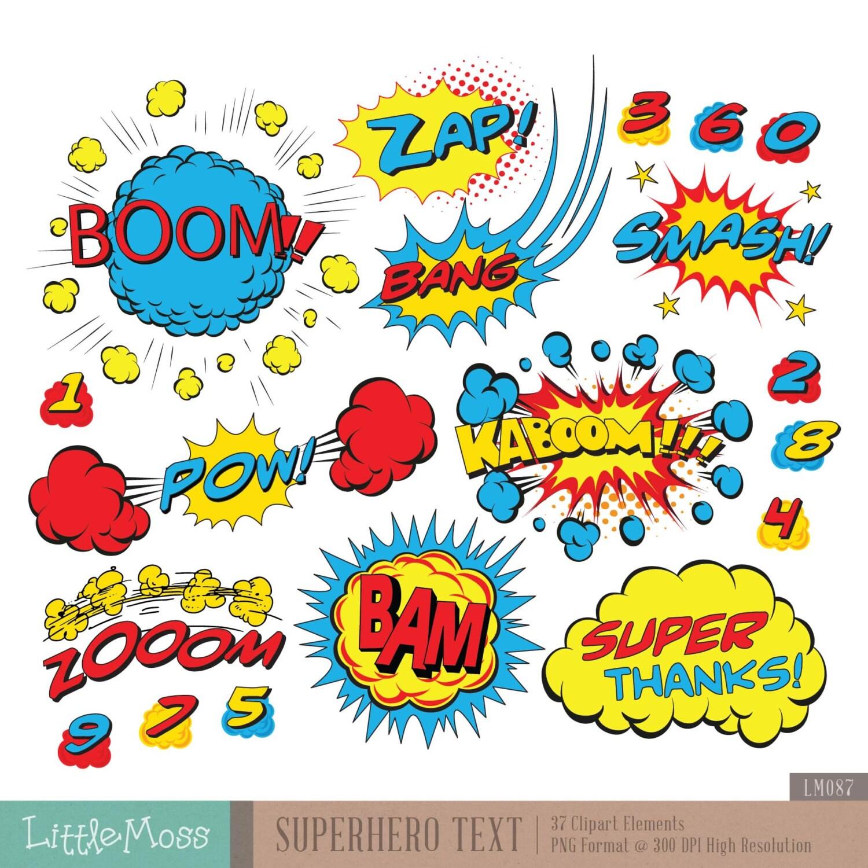 Superhero Text Digital Clipart Comic Text Clipart
