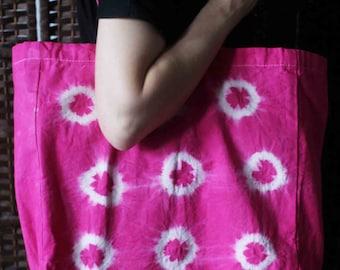 Pink tie dye cotton tote bag