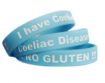 "Coeliac Disease Wristbands reading ""I have Coeliac Disease !!!NO GLUTEN!!!"""
