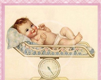 Baby Girl tag Digital, Digital Baby Gift Tag, Baby Shower, Vintage baby, Digital Collage, Scrap Book clip art, cards, collage, Pink baby tag