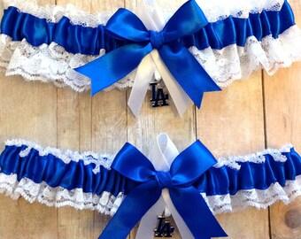 Los Angeles Dodgers Wedding Garter Set  Lace   Handmade   LA   keepsake and toss RRWG