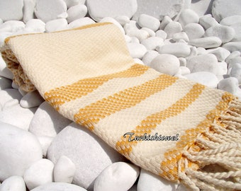 Turkishtowel-Highest Quality Pure Organic Cotton,Hand Woven,Bath,Beach,Spa,Yoga Towel or Sarong-Mathing-Natural Cream and Mustard