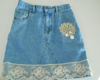 up cycled denim jean skirt  doilies for girls size 7-8