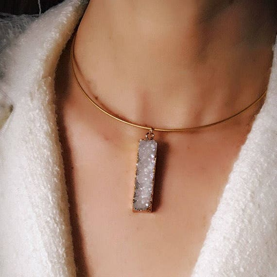 Crystal Druzy Quartz Necklace, Druzy jewelry, boho jewelry, choker