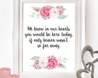 In Loving Memory Printable Poster - INSTANT DOWNLOAD - Heaven Far Away Wedding Sign , Wedding Decor, Reception Poster, Deceased Loved Ones
