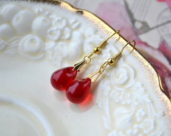 Red Drop Earrings, Ruby Glass Bead Earrings with Gold Hooks, Teardrop Jewellery, Red Wedding Accessories, Bridesmaid Gift