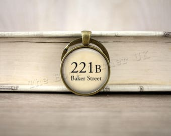 Sherlock, '221B Baker Street' Sherlock Holmes Charm Necklace, Dr Watson Key ring, Keychain