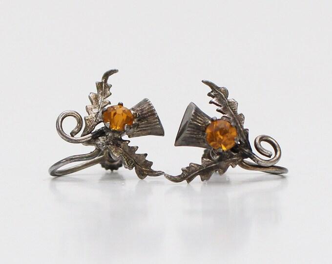 Vintage 1940s Art Nouveau Sterling Silver Earrings