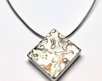 Mokume Gane Pendant with Silver Necklace,Mokume Gane Jewellery, Sterling Silver Necklace
