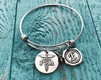 Sale, PA Bracelet, Physician Assistant Bracelet, PA Jewelry, PA Charm, Gift for Physician Assistant, Silver Bracelet, Graduation, Grad, Gift