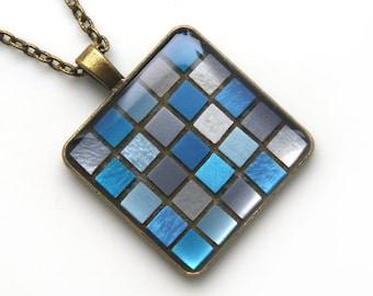 Blue Mosaic Art Pendant, Blue-grey mosaic square pendant, Blue Micro Mosaic Pendant, Blue Mosaic Necklaces