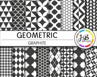 Geometic Digital Paper, Graphite, Gray, White, Tribal, Tiangles, Digital Paper, Digital Download, Scrapbook Paper, Digital Paper Pack