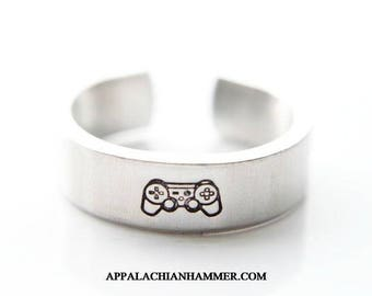Game Controller, Hand Stamped Ring, Video Game Jewerly, Gamer, Video Game Gifts, Boyfriend Gift, Girlfriend Gift, Aluminum, Adjustable