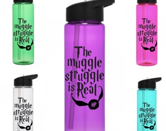 "Harry Potter Inspired  Tumbler, Harry Potter stemless Wine glass, ""The Muggle Struggle is Real"", Harry Potter Water Bottle"