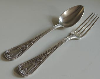 Lovely French antique Art Nouveau cutlery spoon & fork silver plate Alfenide