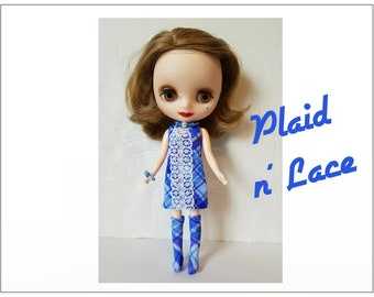 PLAID N' LACE Dress, Boots and Jewelry - handmade fashion for Middie Blythe Doll  - by dolls4emma
