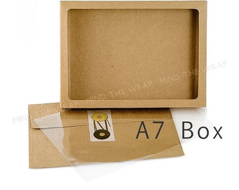 25 - A7 size Kraft Window Box with Clear Poly Window Cover - 5 3/8 x 7/8 x 7 3/8 inches - Fits A7 Cards & Envelopes - Food Safe