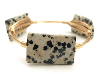 Dalmatian Jasper Stone Wire Bangle, Wire Bangle, Bourbon and Boweties Inspired
