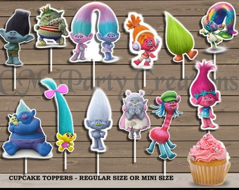 Trolls Cupcake Toppers, Die Cuts, Birthday Party Cupcake Toppers