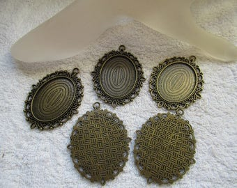 PENDENTIFS SUPPORTS CAMEES  ovales couleur  bronze lot de 5 unités   pour camées ou cabochons 4 cm