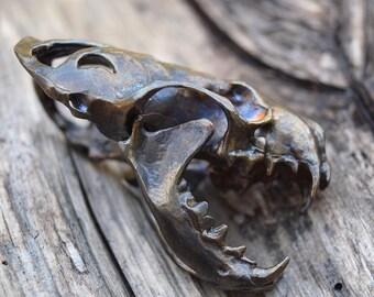 Tenacity - Articulated Mink/Mustelidae Skull - Bronze Pendant or Sculpture