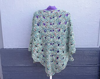 Crochet sage green triangle shawl, with red and yellow touches, in Boho and hippy style