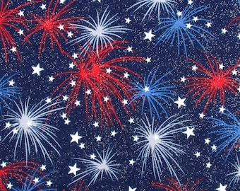 Fireworks with Stars Glittered Cotton Patriotic Fabric by the yard and by the half yard