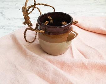 Brown striped hanging ceramic planter | Vintage ceramic plant holder