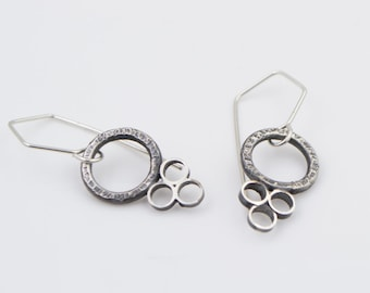 Hammered - Sterling Silver - Circle Earrings
