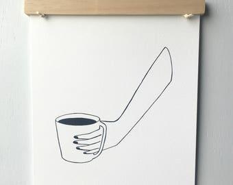 Coffee Art Print - Coffee Art - Kitchen Art - Home Decor - 8x10 Art Print - Modern Wall Art - Monochromatic Art - Gallery Wall - Gift
