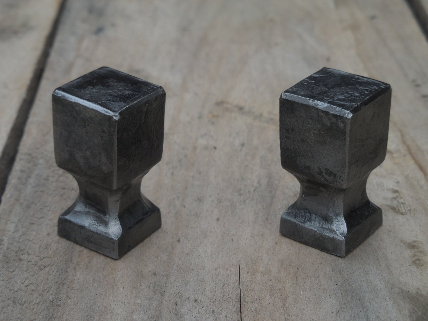 Set Of 2 Hand Forged Square Knobs, Colorless Lacquer, Cabinet Drawer Cupboard Kitchen  Pullsu0026handles, Wrought Iron, Blacksmith Made