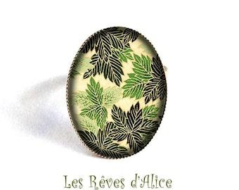 ring * paper Japanese forest * vintage forest green fern, black and bronze leaf motifs