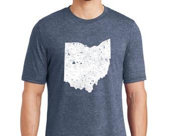 Distressed Ohio Tri-Blend T-Shirt, Distressed Ohio T-Shirt, Ohio T-Shirt, Ohio, Ohio Gift, Distressed T-Shirt, Distressed Shirt, Ohio Shirt