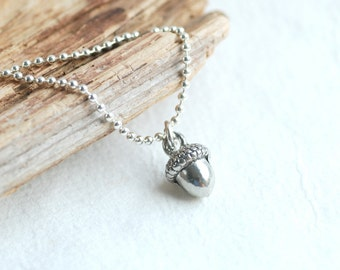 925 Sterling silver acorn necklace - Autumn woodland pendant Ci29Rgv0N