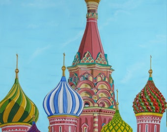red square pastel drawing